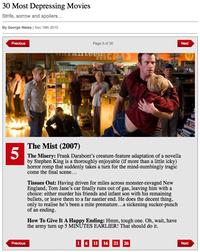 「気がめいる陰うつな映画30本」第5位「ミスト」