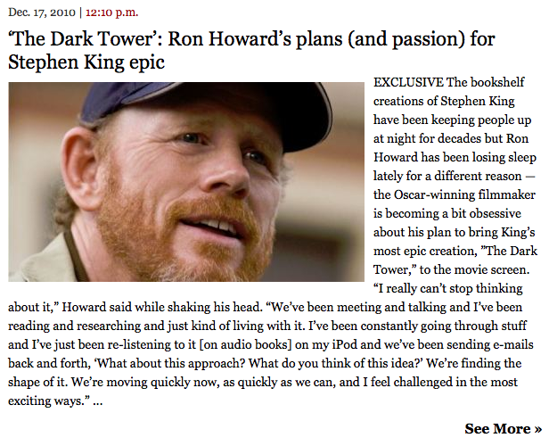 'The Dark Tower': Ron Howard's plans (and passion) for Stephen King epic