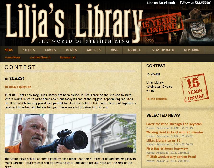 「Lilja's Library」サイト開設15周年記念のプレゼント企画