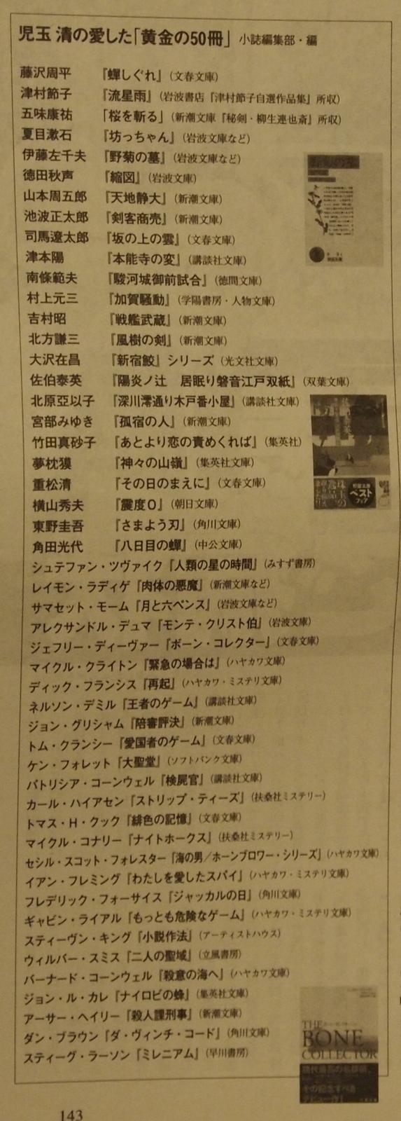 『児玉清 生涯で本当に愛した「黄金の50冊」』(「週刊文春 2011年6月2日号」)より