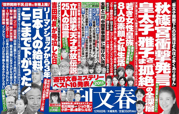 「週刊文春2011年12月8日号」の中吊り広告