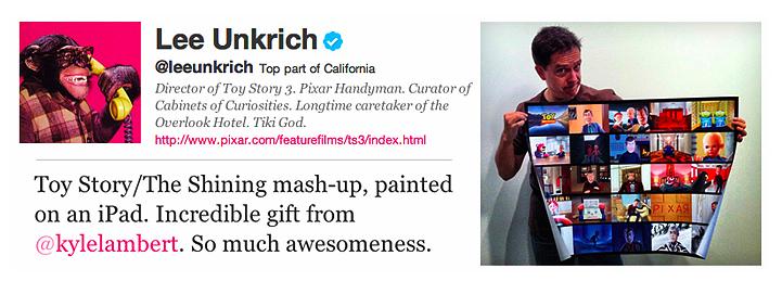 リー・アンクリッチのツイッターアカウント(左上)、リー・アンクリッチのツイート(左下)、「シャイニング」と「トイ・ストーリー3」のマッシュアップイラストのポスターをひろげるリー・アンクリッチ(右)