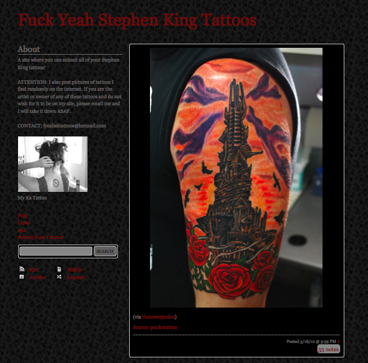 『Fuck Yeah Stephen King Tattoos』スクリーンショット