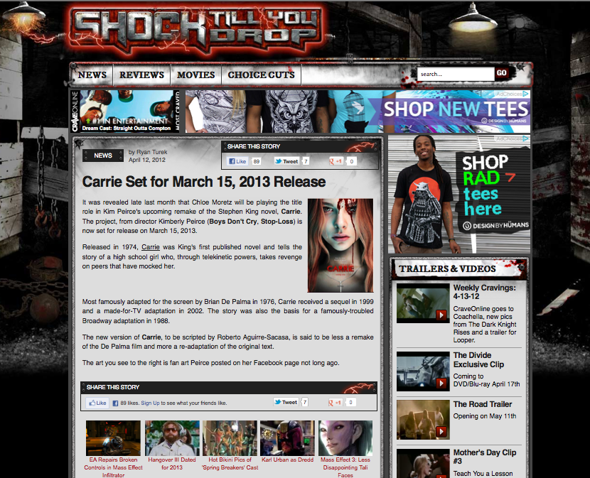 Carrie Set for March 15, 2013 Release