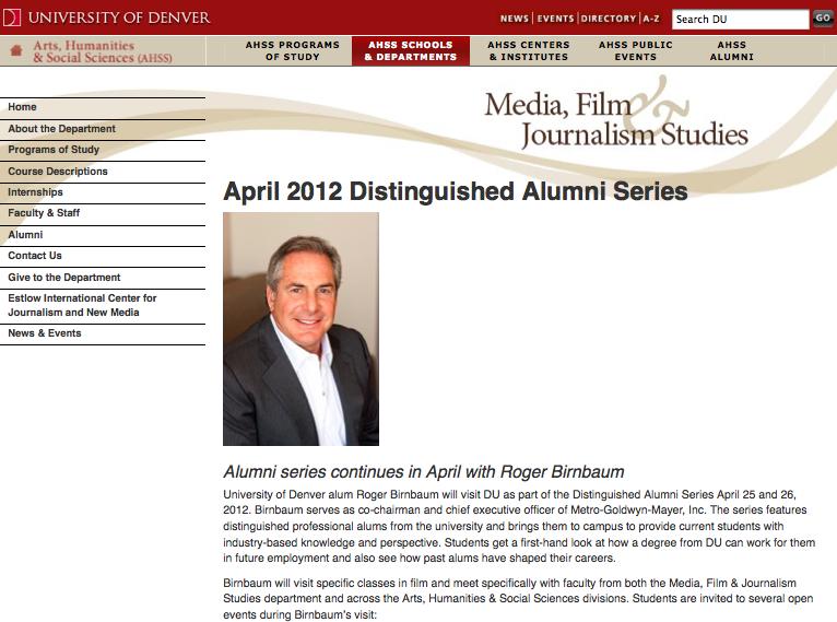 デンバー大学のロジャー・バーンバウムの特別授業のページ