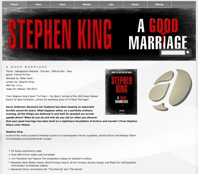 アトラス・インターナショナルの「A Good Marriage」の公式サイト/スクリーンショット