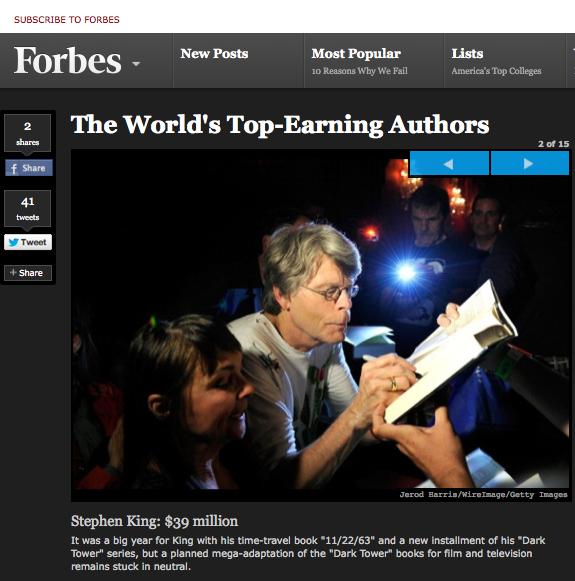 Stephen King: $39 million