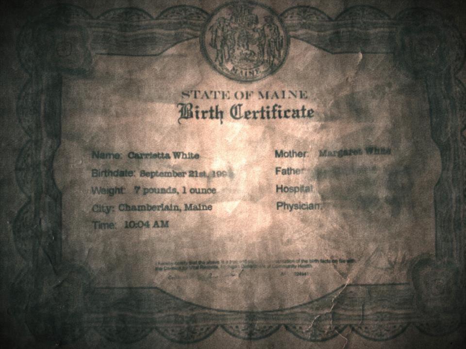 キャリー・ホワイトの出生証明書