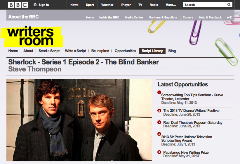 「SHERLOCK(シャーロック)」シーズン1第2話「The Blind Banker(死を呼ぶ暗号)」脚本公開