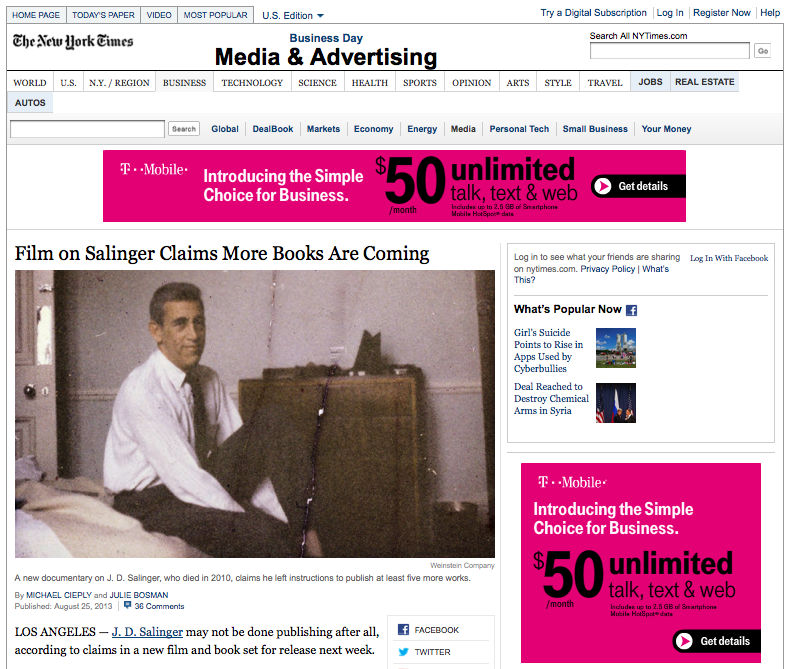 Film on Salinger Claims More Books Are Coming