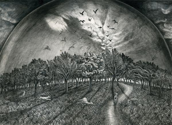 「アンダー・ザ・ドーム(3・4)」の装画の原画の下書き