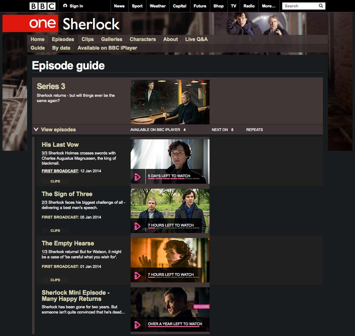「SHERLOCK」シーズン3エピソードガイド