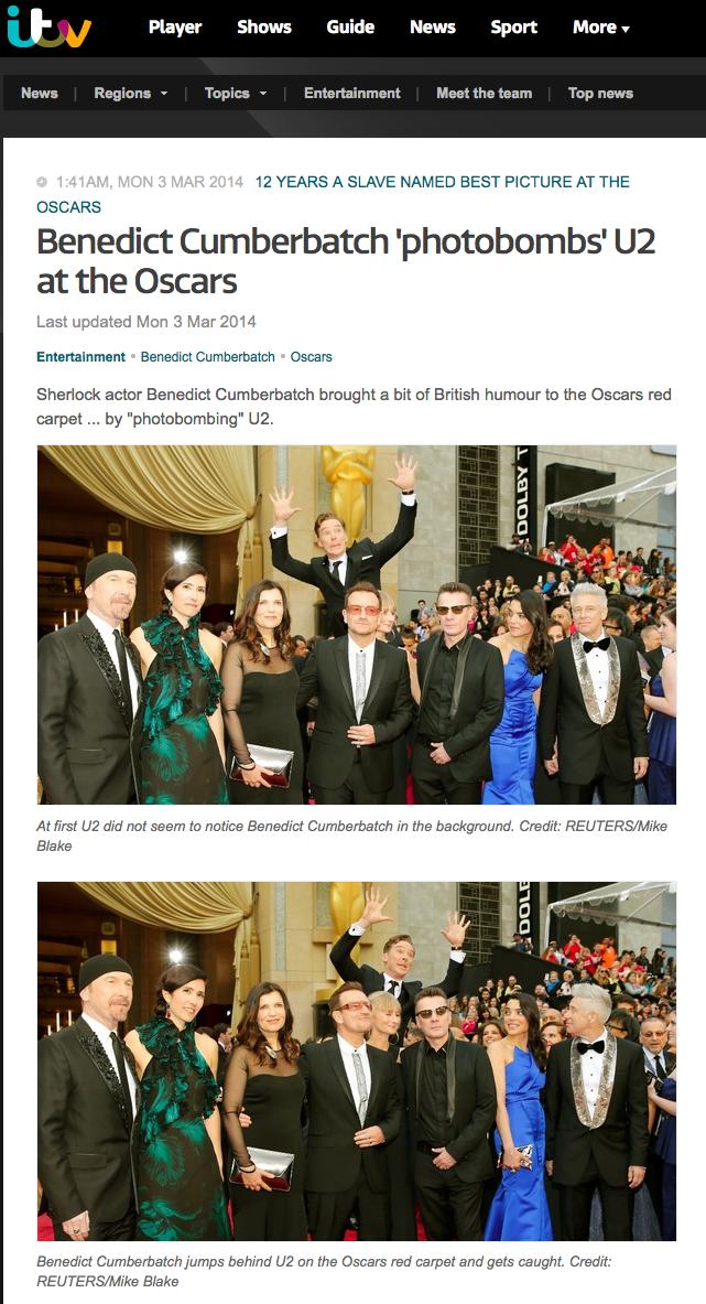 Benedict Cumberbatch 'photobombs' U2 at the Oscars
