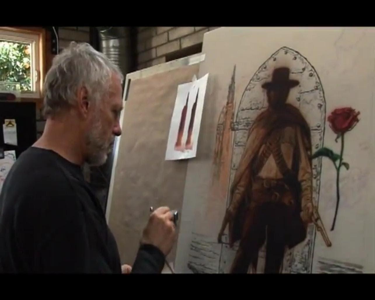 「ダーク・タワー」のポスターを描くドリュー・ストラザン